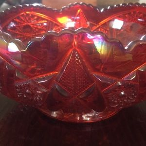 Other - Vintage Sunset Red Indiana Carnival Glass Bowl